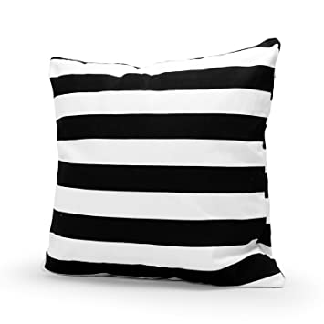 lavievert decorative cotton canvas square throw pillow cover cushion case handmade black and white stripe toss