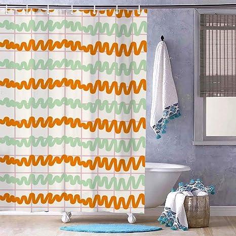 Cortina de baño con rayas de color naranja y verde ...