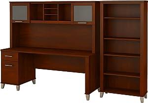 Bush Furniture Somerset Office Desk with Hutch and 5 Shelf Bookcase, 72W, Hansen Cherry