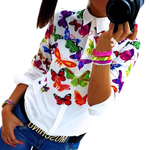 83bff823afb Image Unavailable. Image not available for. Color  Kangma Women Butterfly  Chiffon Long Sleeve Casual Blouse Button-Down Shirts Multicolored