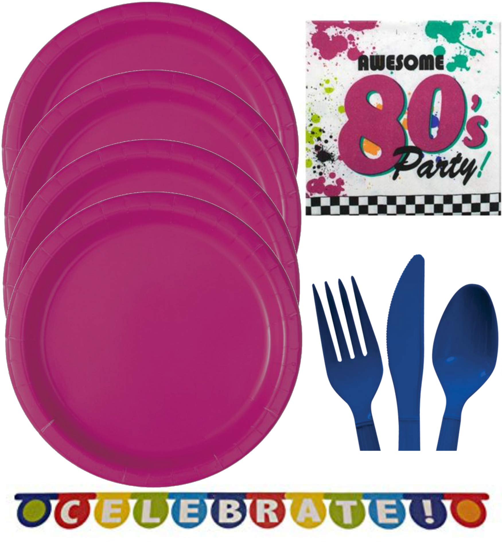80s Party Supplies for 16 - Halloween, Birthday - Plates, Napkins, Cutlery, Eightees Games Idea Activity Page Party Pack