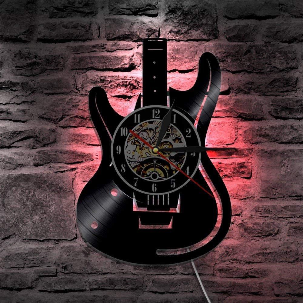 Meet Beauty Ding Einzigartige Musical Guitar Record Vinyl Wanduhren Handgemachte DIY Kreative LED Lampe mit 7 Farben Hintergrund Licht Fernbedienung Wandleuchte Nacht 30X30CM Runde Schwarz