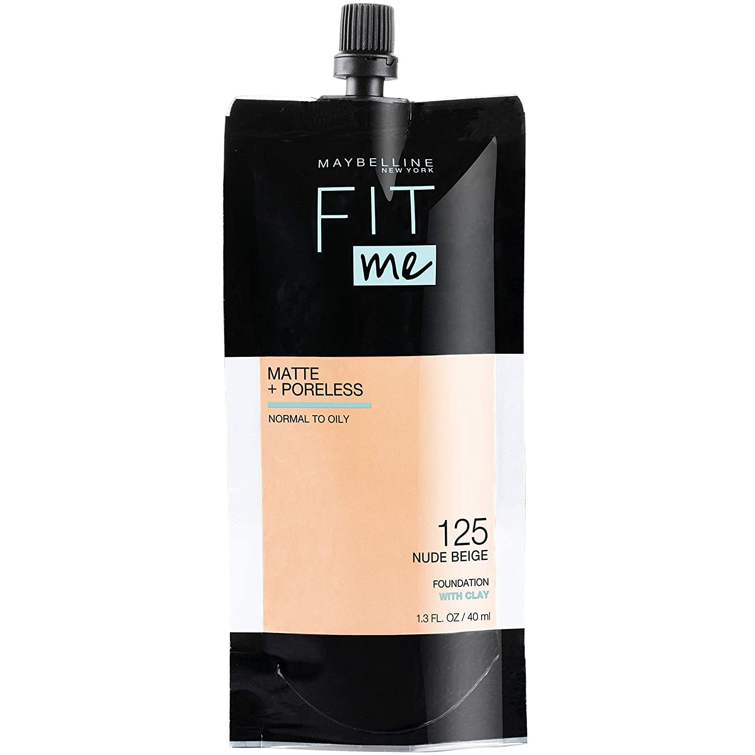 Maybelline Fit Me Matte + Poreless Liquid Foundation, Face Makeup, Mess-Free No Waste Pouch Format, Normal to Oily Skin Types, Nude Beige, 1.3 Fl Oz