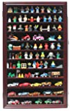 Minifigures Miniature Figures Display Case Wall Curio Cabinet (Mahogany Finish)