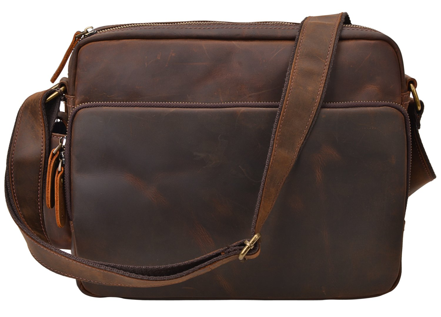 ALTOSY Vintage Leather Messenger Bag Office Briefcase Shoulder Bag 6252 (brown)