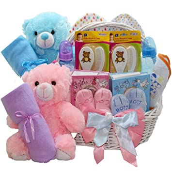 Amazon.com : Double The Fun Twin New Baby Gift Basket, (1) Pink Girl (1) Blue Boy : Gourmet Gift Items : Baby