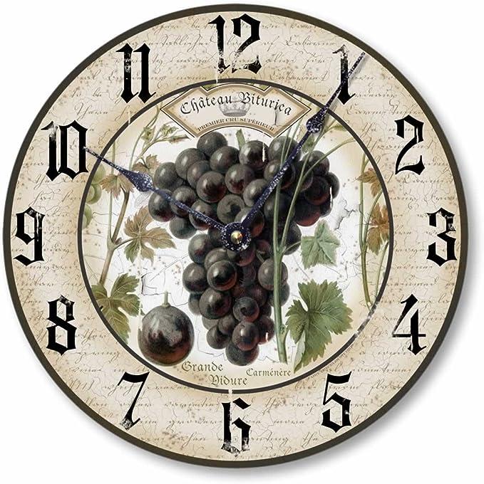 Fairy Freckles Studios Item C1230 Vintage Style 10.5 Inch Wine Grapes Clock