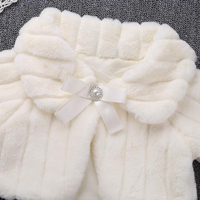 Amazon.com: MSemis Kids Flower Girls Long Sleeve Faux Fur Bowknot Thick Shrug Bolero Cloak Jacket for Wedding: Clothing