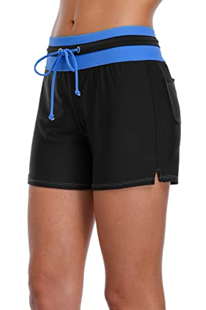 Sociala Swim Shorts for Women High Waist Bathing Suit Bottoms Black  Boardshort M c1e97b7f72