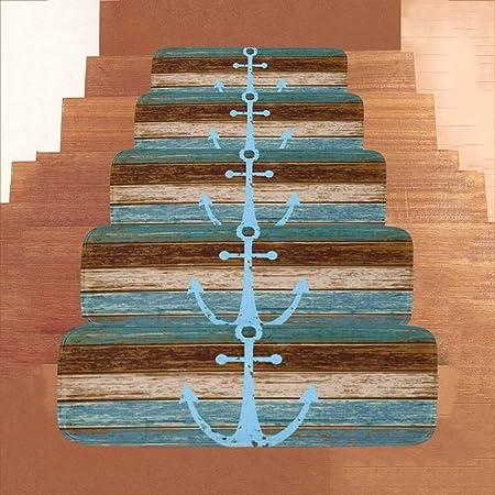 Estilo Ancla Marina Azul Alfombra De La Escalera/Duradero De Estera De La Escalera Antideslizante - (28X9X2 IN) Rugs Escaleras For Interior Y Exterior (1PCS, 5PCS) (Size : 1 PCS): Amazon.es: Hogar
