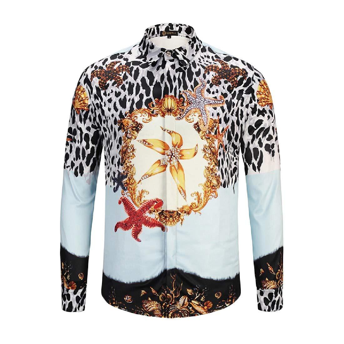 Tootless-Men Long-Sleeve African Lounge Leopard Button Down Shirt