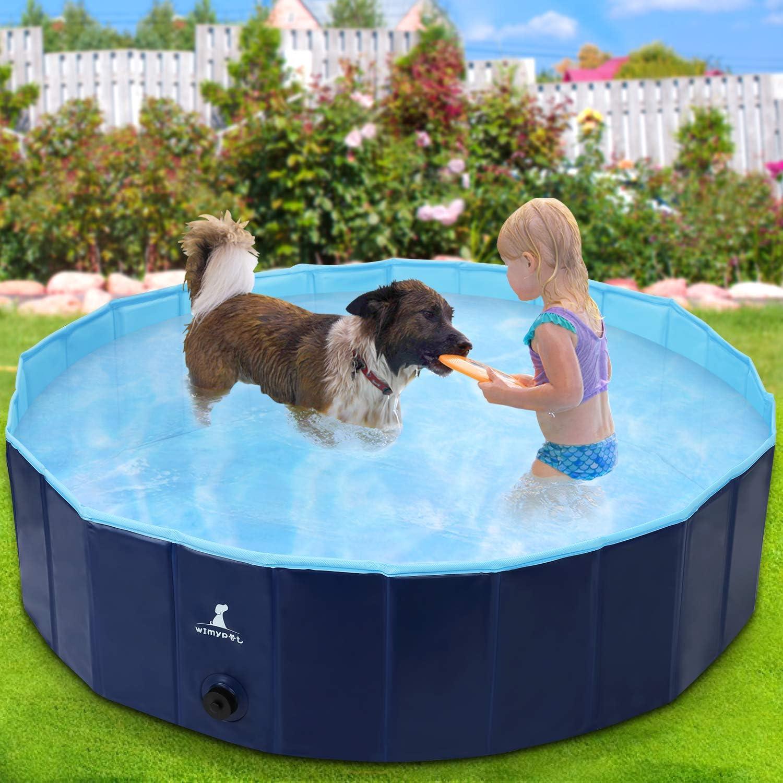 Wimypet Piscina Mascotas, Piscina para Perros, Bañera Plegable de Mascotas Adecuado para Interior, Piscina con PVC Antideslizante para Perros/Gatos/Niños- Azul Claro (120 * 30CM)