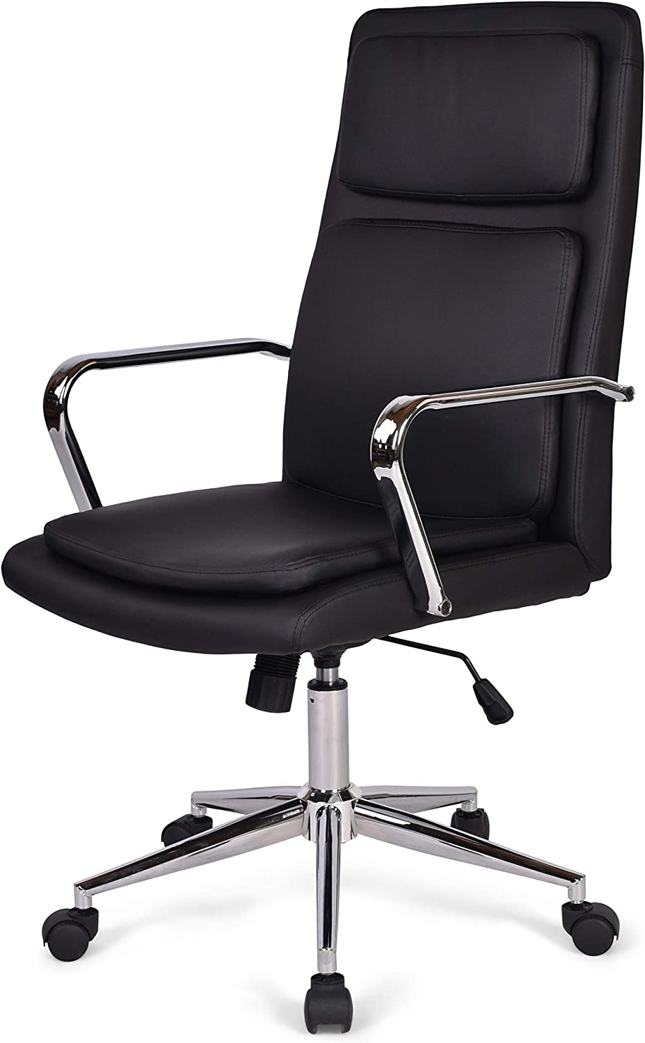 Simpli Home Swanson Swivel Adjustable Executive Computer Office Chair in Black