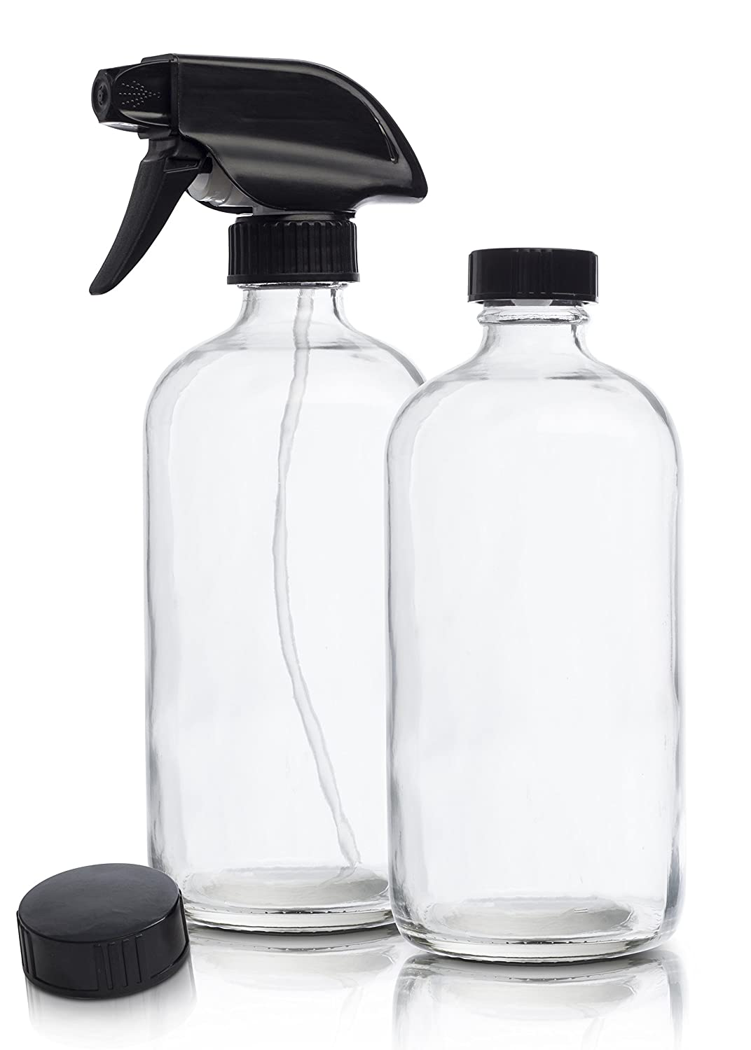 efc3487b3aa0 Empty Clear Glass Spray Bottles | 2 Pack 16 Oz Refillable Sprayer for  Essential Oil | Water, Kitchen, Bath,...