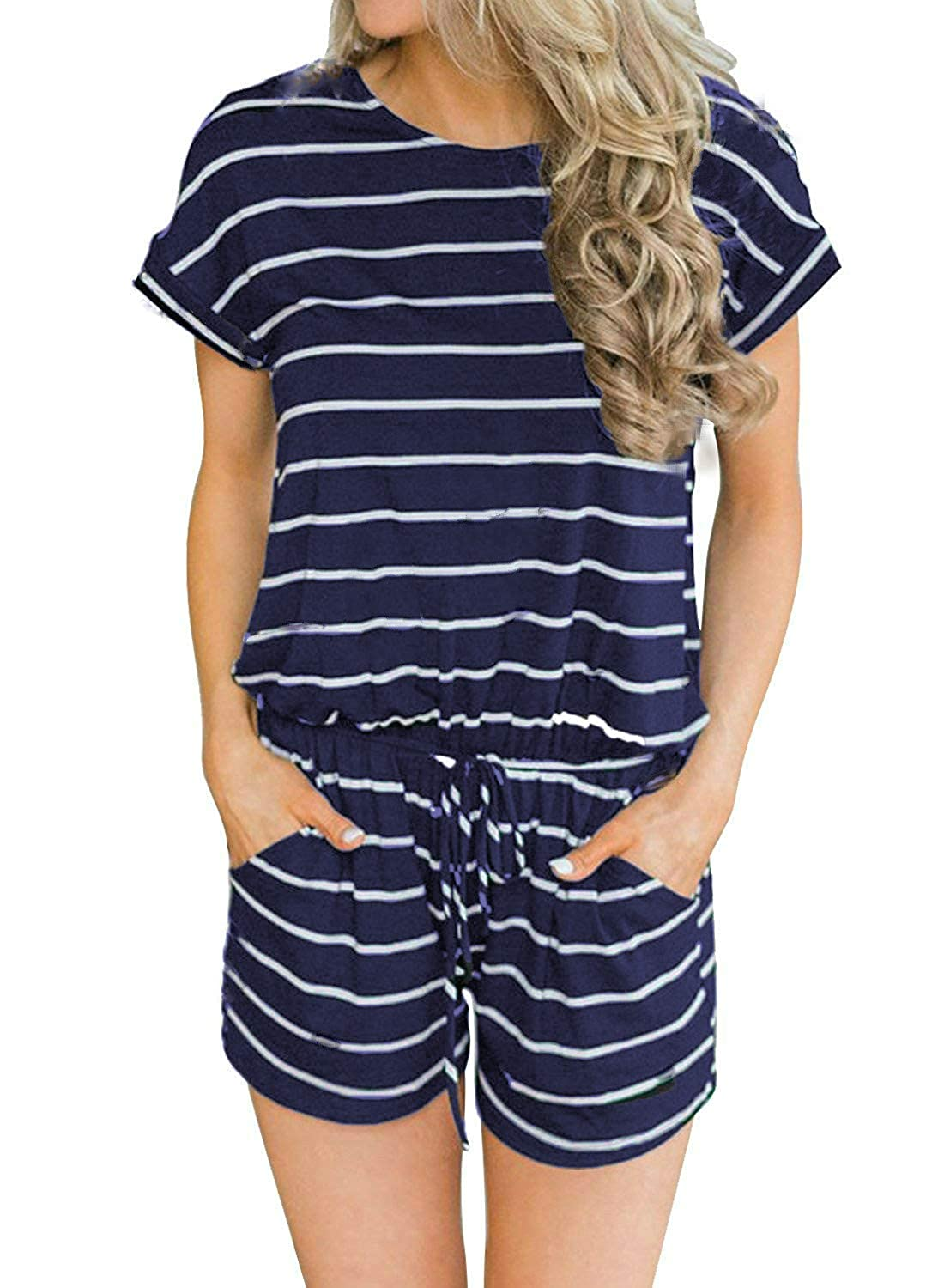 01navy Striped Artfish Women's Summer Striped Jumpsuit Casual Loose Short Sleeve Jumpsuit Rompers