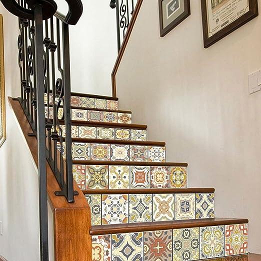 QTZS Escalera 3D Pegatinas Estilo Árabe Escaleras De Mosaico Decorativo Pegatinas De Pared 6 Unids: Amazon.es: Hogar
