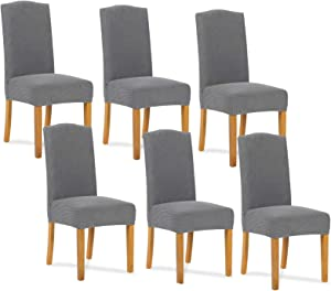 SNDMOR Dining Room Chair Covers Kitchen,Stretch Removable Chair Slipcovers Durable,Anti-Dirty Washable Short Chair Covers (6 Pack,Light Gray)