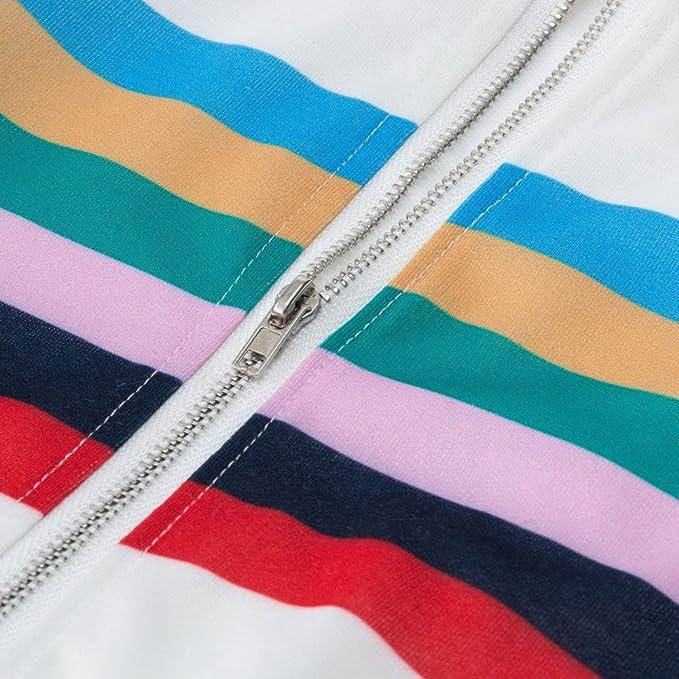 Linlink las Mujeres Franjas Ocio Empalme Tops Loose Blusa de Cremallera de fácil Capa Suelta: Amazon.es: Ropa y accesorios