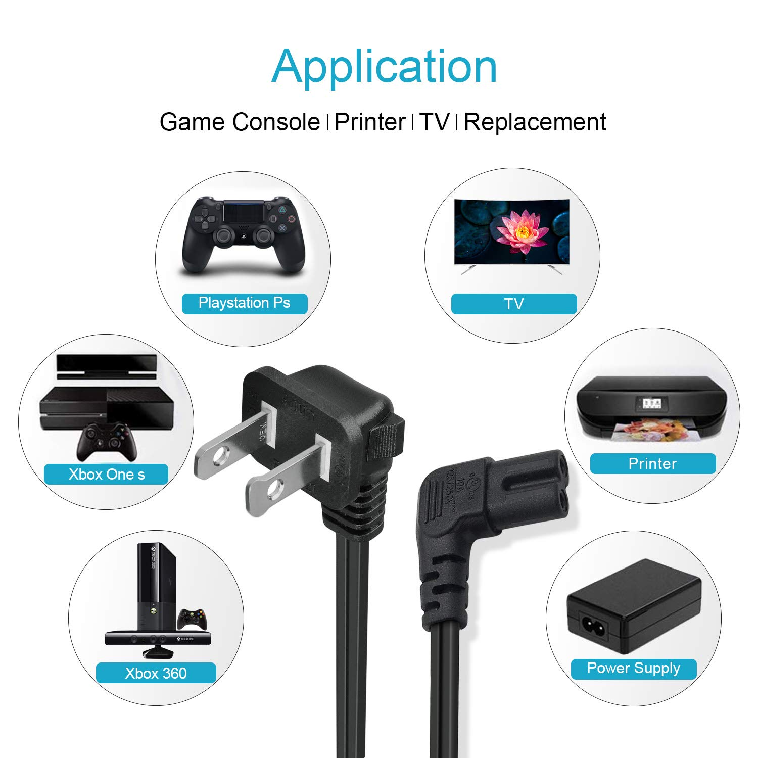 NAHAO AC Replacement Power Cord Cable 90 Degree Angled 2-Prong Figure 8 Compatible with Samsung PN 3903-000853 3903-000599 LED 3D TV E-JUN