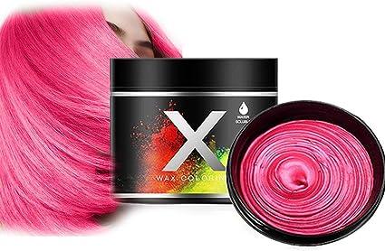 Tinte Para El Cabello, Cera Pelo De Bricolaje,Crema De Peinado Desechable,Use Cera Pelo Temporal Peinados úNicos(Rosa roja)