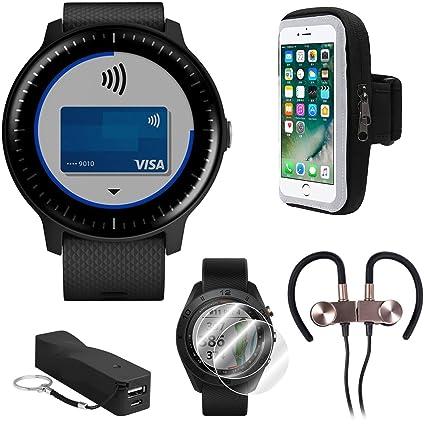 Garmin Vivoactive 3 Music GPS Smartwatch (Black with Silver Hardware) Runner Pro Bundle with Smartphone Armband Holder, Portable Power Bank, Screen ...
