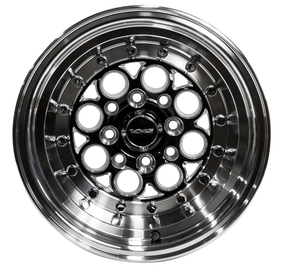 VMS RACING 13x9 Modulo 4 LUG Drag Track WHEELS RIMS 4x100 / 4x114 ET0 Offset 0 in BLACK SILVER Cast Machined Aluminum Compatible with Honda Civic 90-05 1990-2005 (4 lug pattern) (Pack of 2)