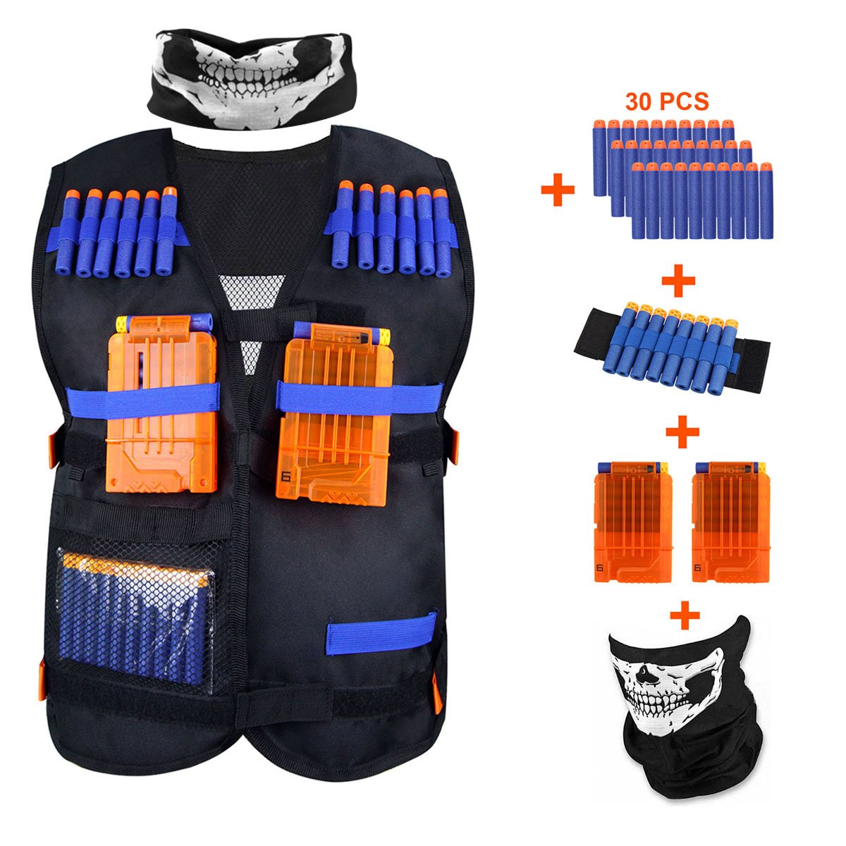 KINBON Kids Tactical Vest Kit, Adjustable Boys Nerf Vest for EVA Nerf N-strike Elite Series Kids with 30 Pcs Foam Darts + 2Pcs 6-dart Quick Reload Clip + 1Pcs Skull Mask+ 1Pcs 8-dart Wrist Band by KINBON