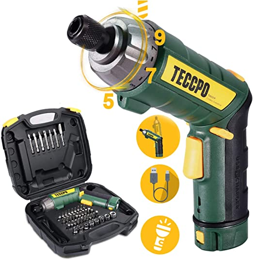 Cordless Screwdriver, 6Nm TECCPO Electric Screwdriver, 4V 2000mAh Li-ion, with 45 Free Accessories, 9+1 Torque Gears, Adjustable 2 Position Handle ...