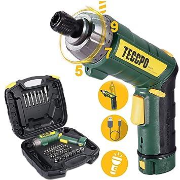 TECCPO TDSC01P - Destornillador eléctrico inalámbrico de 6 ...