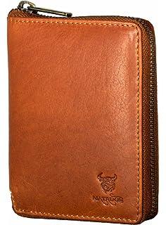 4f4dc80dab56d MATADOR Damen Herren Leder Geldbörse Geldbeutel Portemonnaie Braun  Reißverschluss RFID Schutz Brieftasche
