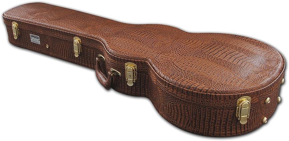 Spider - Funda para guitarra tipo Les Paul, con acabado de piel de cocodrilo, color marrón: Amazon.es: Instrumentos musicales