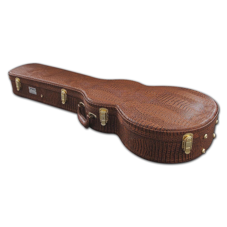 Spider Les Paul Guitarra en forma de caja de transporte para iMac y marrón con acabado de piel de cocodrilo LP502MG