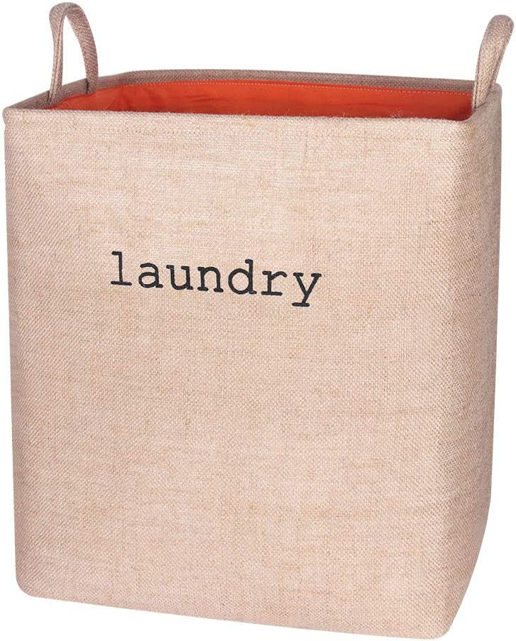 Zeroomade Laundry Basket Clothes Hamper Collapsible Jute Fabric Thickened Elastic Coating Durable Dirty Clothes Large Storage Laundry Organizer(Beige L)
