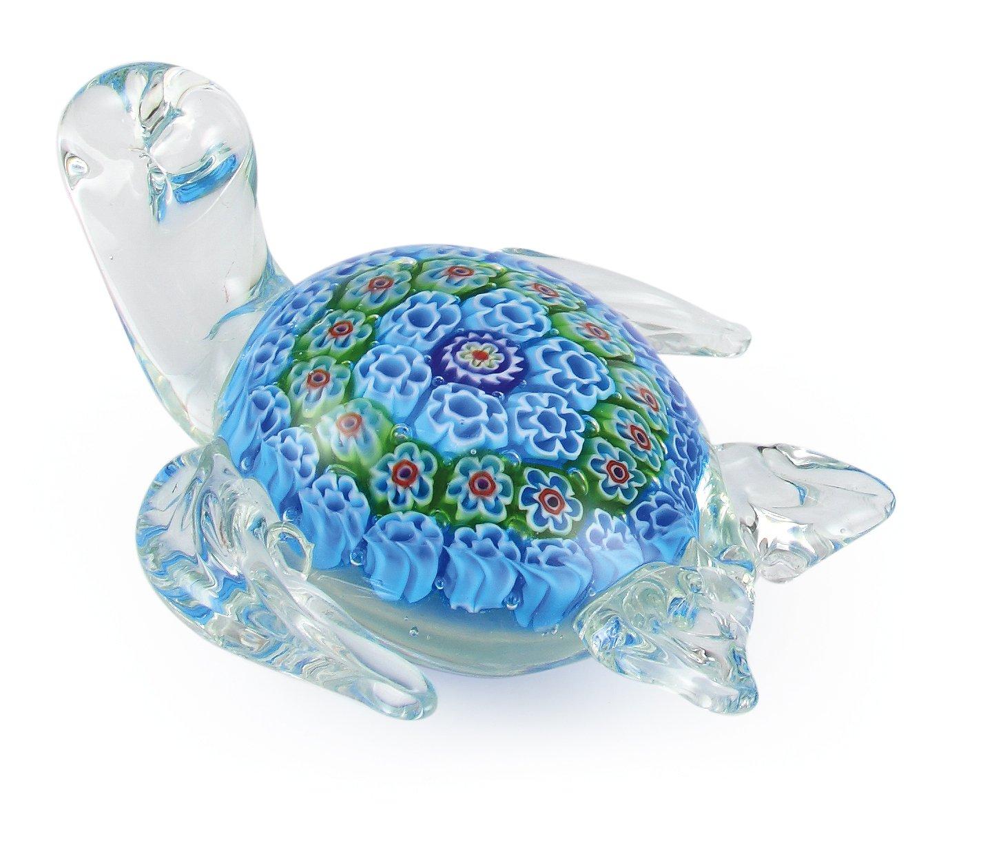 Millefiori Art Glass Turtle Figurine Paperweight by Global Village