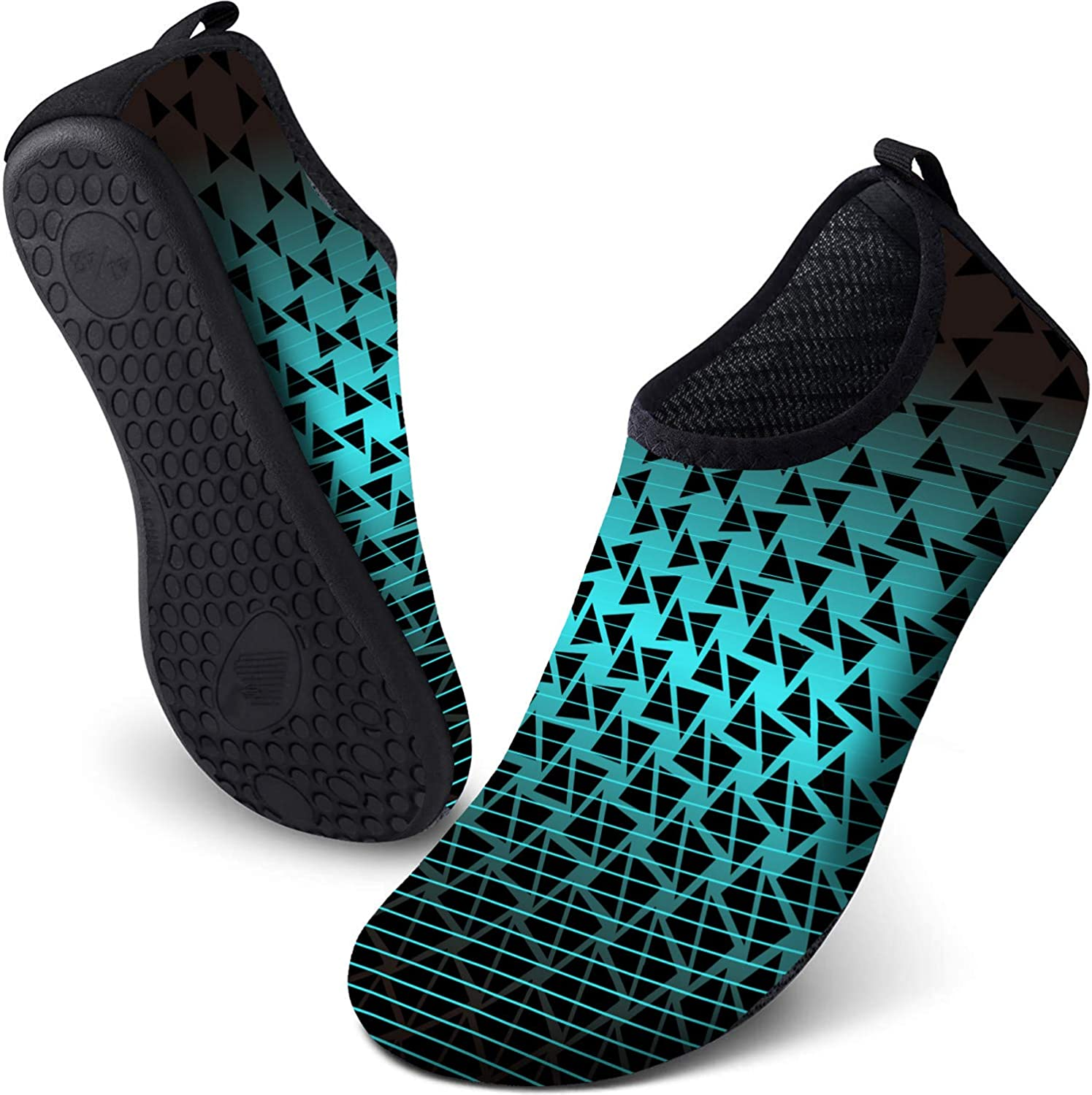 INTERESTPRINT Mens Quick Dry Barefoot Aqua Shoes Fish Shells Outdoor Beach Swimming Water Socks