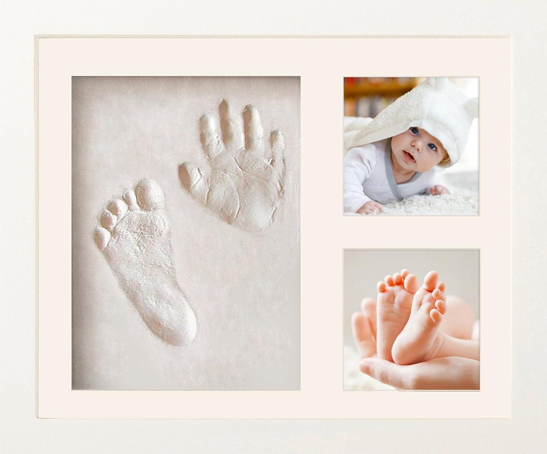 NIMAXI Baby Bilderrahmen mit Gipsabdruck, Größe 23x28cm, Farbe weiß, Bilderrahmen Abdruckset Handabdruck und Fußabdruck Größe 23x28cm Farbe weiß FuTrade