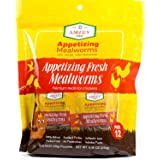 Fresh Mealworms 8.4 oz (1600 Count Total, 12 Bags) Superior to Live Mealworms - Premium Food for Leopard Gecko, Exotic Bird F