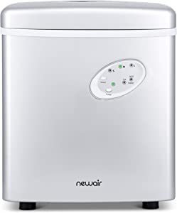 NewAir Portable Maker 28 lb Daily Icemaker, 3 Ice Bullet Sizes, Perfect Machine for Countertops, NIM028SI00 Silver
