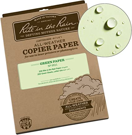 Paquete de 200/hojas color verde 8 1//2 Inches X 11 Inches Rite in the Rain para todo tipo de clima copiadora papel 20/# 8/1//2/x11 8511gy