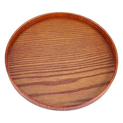 Wood Serving Plate,Wood Round Serving Tea Tray Fruit Dessert Cake Snack Candy Water Platter