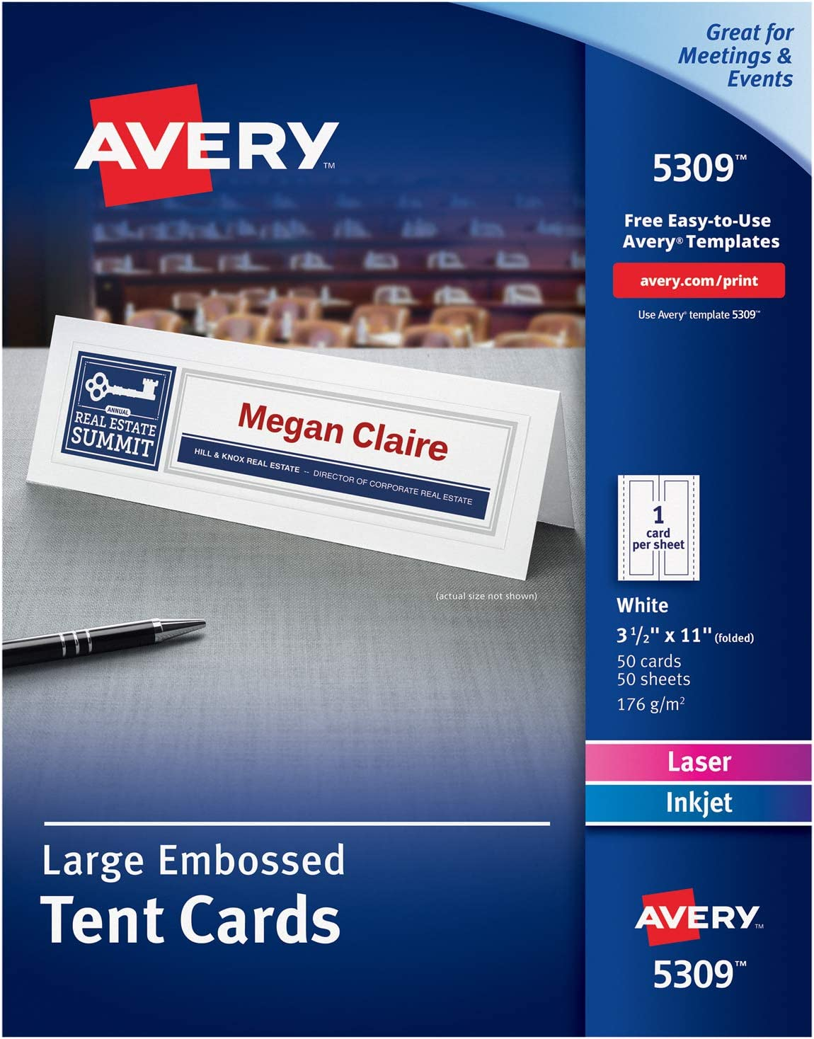 Avery Printable Large Tent Cards Laser Inkjet Printers 50 Cards 3 5 X 11 5309 White