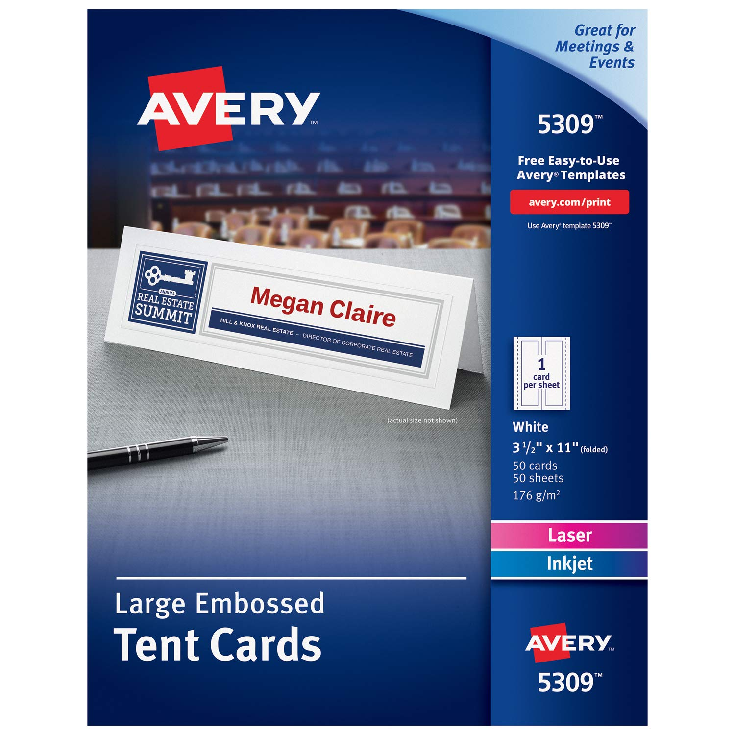 Avery Printable Large Tent Cards, Laser & Inkjet Printers, 50 Cards, 3.5 x 11 (5309)