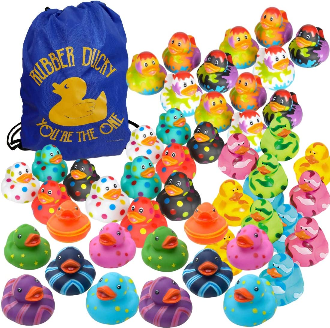 Assorted Rubber Ducks in Bulk - Colorful Variety Pack Assortment (48 Ducks + 1 Drawstring Bag) - Fun Colored Rubber Duckies - Kids Party Favors Set - Event Handouts - Cruising Ducks - Student Prizes - Bath Toys