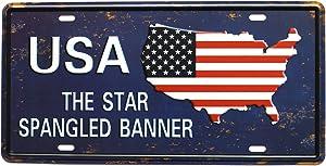 ARTCLUB USA The Star Spangled Banner, Vintage Metal Plaque Tin Sign, Retro License Plate Garage Home Wall Decor