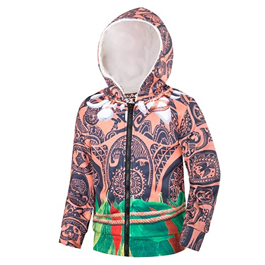 Amazon.com: DGFSTM Maui Costume Hoodies for Boys Long Sleeve Hooded Jacket with Lined (8 (7-8Years), Brown): Clothing