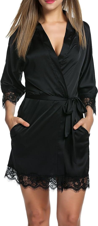 Damen Nachthemd Bodydoll Satin Night Kimono Nachtwäsche Morgenmantel Bademantel