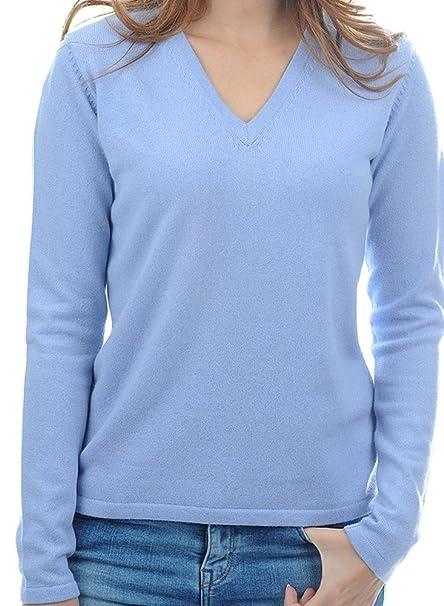 new product c71b3 234e7 Balldiri 100% Cashmere Damen Pullover 2 fäd. V himmelblau XS ...
