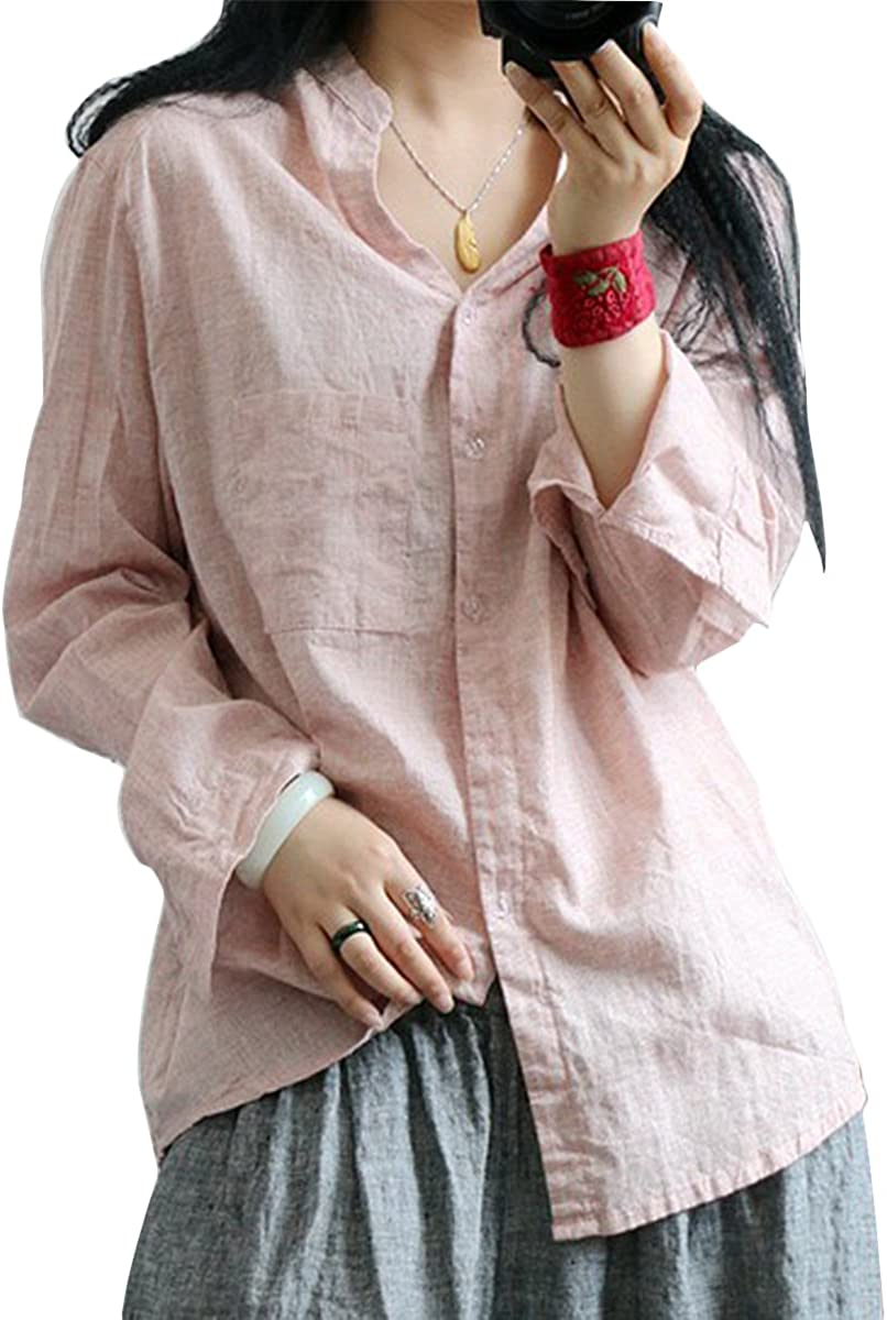 Simple Versatile Light Linen Vintage Shirt with Long Sleeves