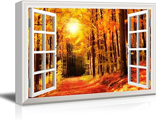 Poster Window View Office Room Wall Decoration Art Wall Cloth Print 538