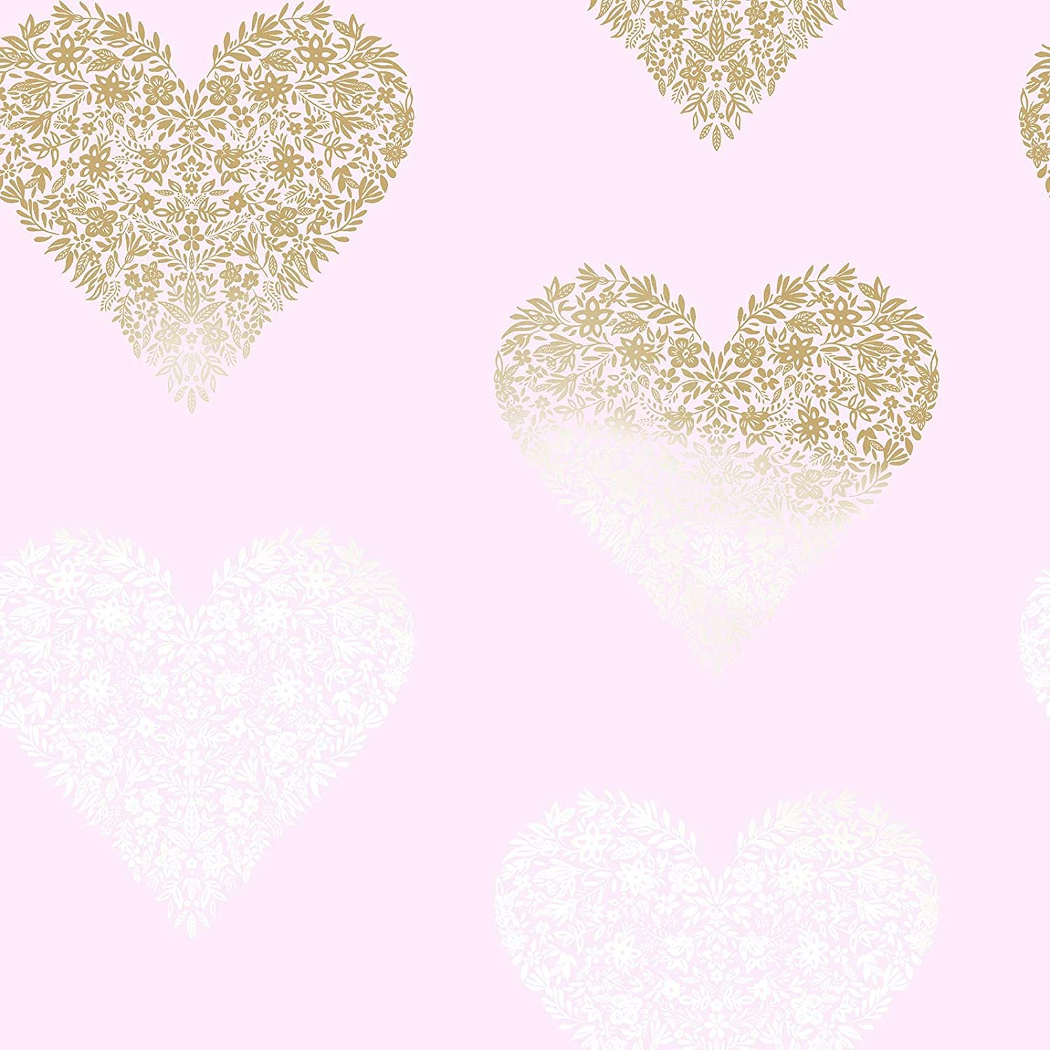 Floral Heart Wallpaper Pink Gold Holden 12721 Amazon Com